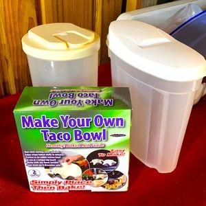 Plastic containers and a taco shell maker